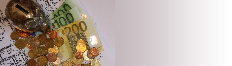 Geld, Kosten, Sparschwein, Kleingeld, Münzen, Scheine, Bauplan