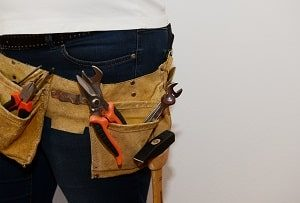 Bauphysiker, Handwerker, Werkzeuge, Werkzeugtasche, Hammer, Klemme, Hose, Bauarbeiter