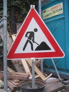 Baustellenschild, Baustelle, Schild