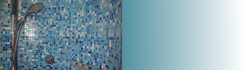 Dusche Slider, Duschkopf, Wärme, Kälte, Duschwand, blaue Wand, Massagedüsen