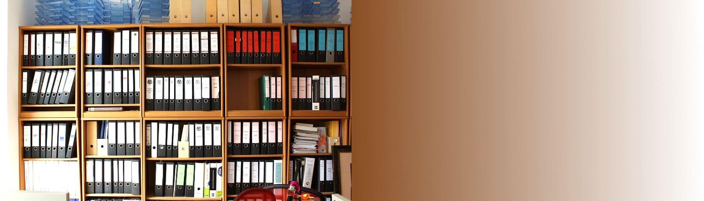 Büroausstattung Slider, Akten, Ordner, Plastikablagen, Ablagen, Dokumente, Unterlagen, Holzschrank, Fächer, blauer Ordner, roter Ordner