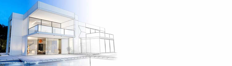Villa, Grundriss, modern, Entwurf, Blaupause