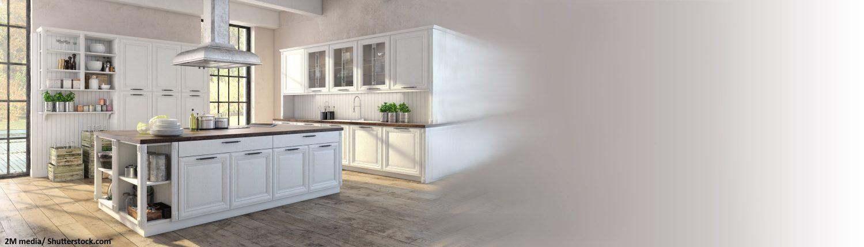 Offene Küche, Weiße Küchenzeile, Kücheninsel, Rostfreier Stahl