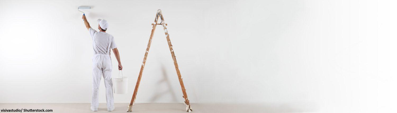 Leiter, Mauer, Malen, Farbe, Streichen, Weißeln