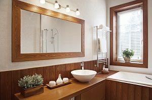 Badmöbel Holz, Badeinrichtung braunes Holz