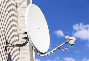 Haus, Satellit, senden, Übertragung