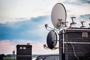Satellit, Fernseher, Antenne, Dach