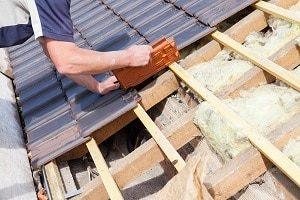 Dach, Dachdecker, reparieren, Bau