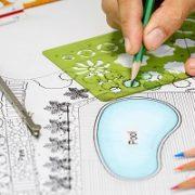 Garten, Blaupause, Entwurf, Plan