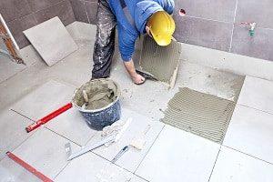 Fliesenleger, WC, Bad, Klebstoff, Fliesenkleber, Fliesen, Fliesenverlegung