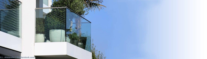 modern, Design, Balkon, Glas, Glasbalkon