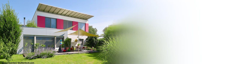 Büsche, Rasen, Flachdach, Einfamilienhaus, Bau, Haus, modern, Terrasse