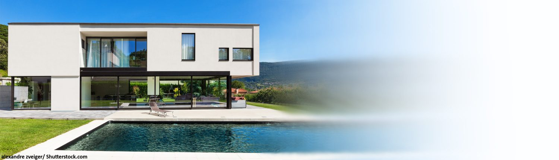 Swimming-pool, Flachdach, Rasen, Haus, Designer-Haus