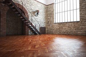 Parkett, Parkettboden, Raum mit Treppe