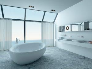 Ihre freistehende Badewanne im modernen Badezimmer bei Tipp zum Bau. Erfahren Sie alles über Materialien von freistehenden Wannen.