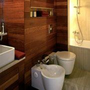 Badezimmer, Wand Naturholz, modern Beleuchtung