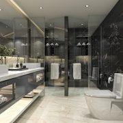 Badezimmer, Boden, Wand, Marmor, Glas, Spiegel, schick, modern