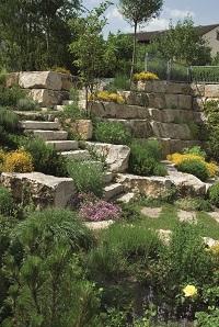 Naturstein, Außenbereich, Treppe, Garten, grün
