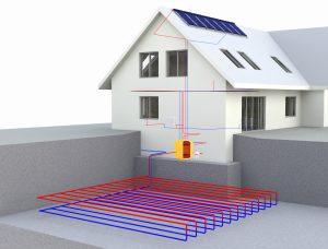 Die Wärmepumpe in Zusammenarbeit mit Solarpaneelen zu sehen auf Tipp zum Bau.